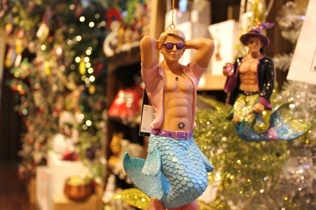 mermaid man christmas tree ornament