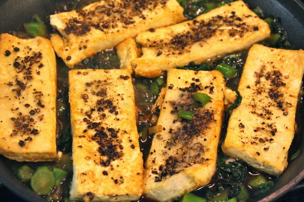 crispy black pepper crusted tofu