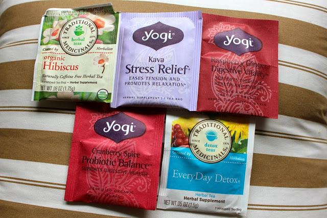 my favorite teas hibiscus, kava stress relief, raspberry ginger digestive vitality, cranberry probiotic tea and everyday detox tea